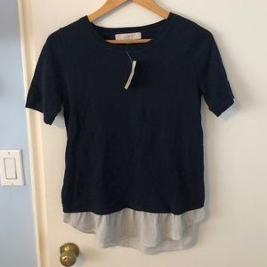 NWT LOFT  MIXED MEDIA SWEATER BLOUSE NAVY - XXSP